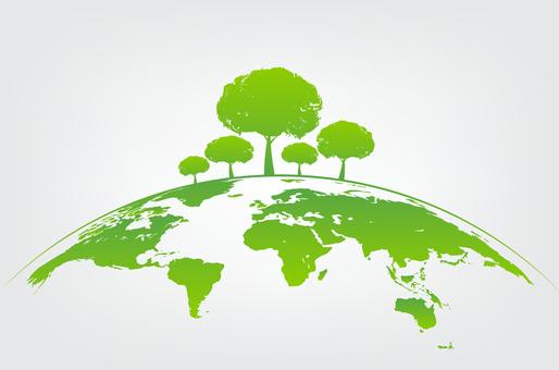 Dessin représentant la Terre et des arbres pour symboliser le respect de l'environnement